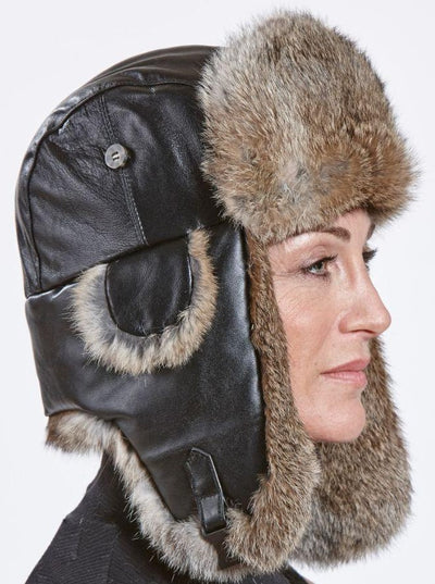 Adriano Women's Brown Rabbit Trapper Hat with Leather - The Fur Store