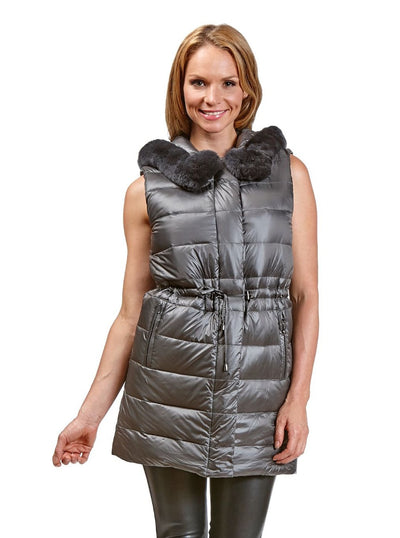 Lana Grey Reversible Puffer Rex Rabbit Vest Hood - The Fur Store