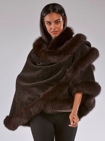 Grace Brown Alpaca with Brown Fox Trim Cape - The Fur Store