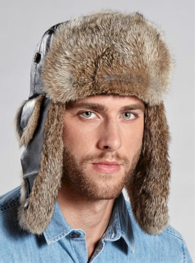 Adriano Men's Brown Rabbit Trapper Hat with Leather - The Fur Store