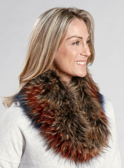 Lina Multi Color Raccoon Neck Warmer - The Fur Store
