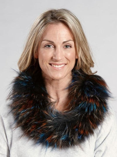 Peyton Multi Color Silver Fox Neck Warmer - The Fur Store