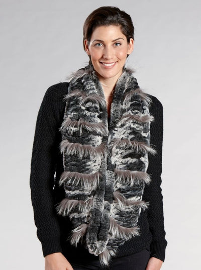 Barbara Rex Rabbit Infinity Fur Scarf - The Fur Store