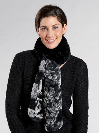 Gianna Black Knitted Rex Rabbit Scarf - The Fur Store