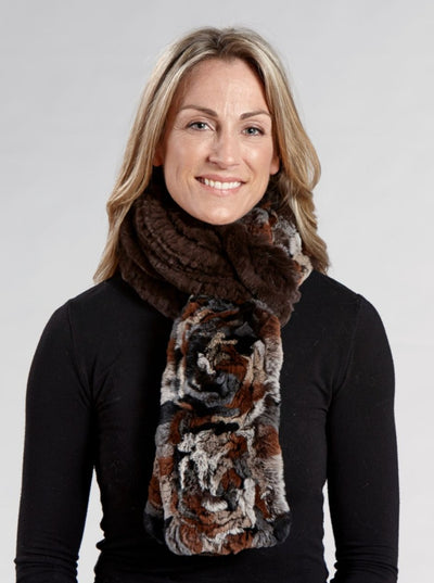 Gianna Matara Knitted Rex Rabbit Scarf - The Fur Store