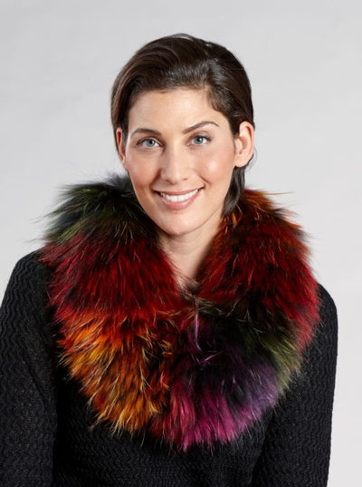 Louisa Multi Color Raccoon Neck Warmer - The Fur Store