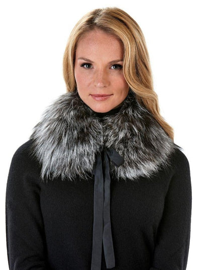 Diane Natural Silver Fox Collar - The Fur Store