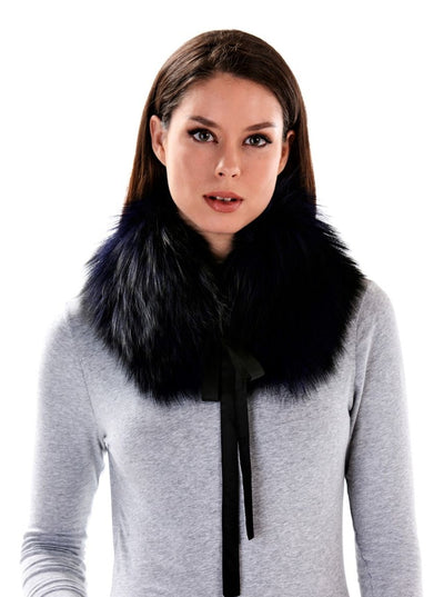 Diane Dark Purple Fox Fur Collar - The Fur Store
