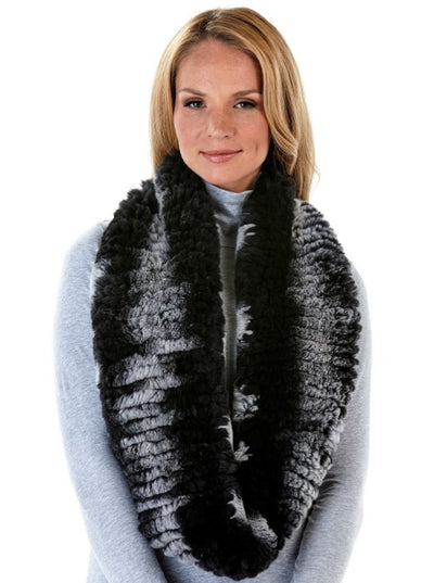 Ruth Black and Grey Rex Rabbit Infinity Scarf - The Fur Store