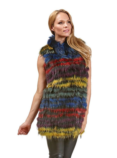 Adelaide Multi Color Raccoon Vest - The Fur Store