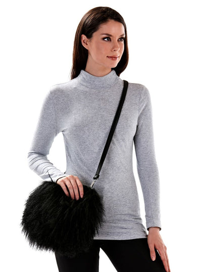Miriam Black Mongolian Lamb Hand Bag - The Fur Store