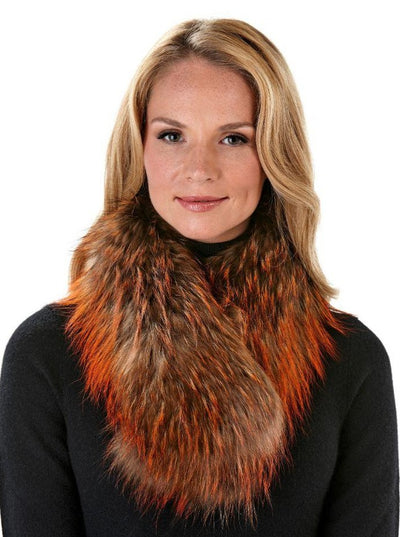 Ember Orange Multi Color Raccoon Scarf - The Fur Store