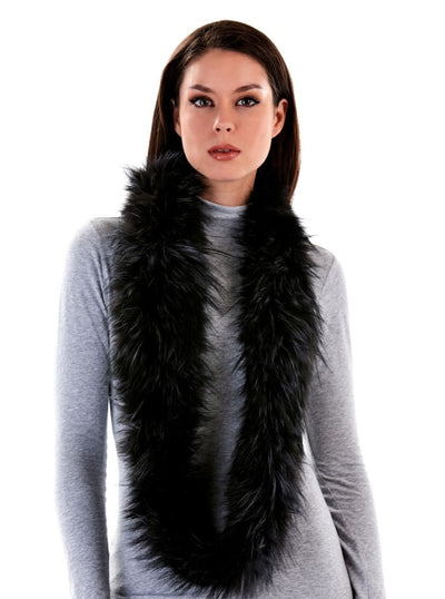 Marianne Infinity Grey Knitted Fox Scarf - The Fur Store