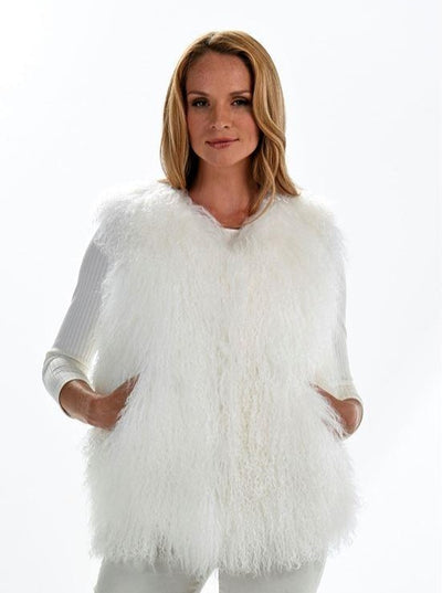 Adelynn White Lamb Vest - The Fur Store