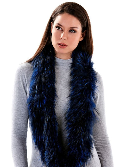 Lynn Blue Silver Fox Infinity Scarf - The Fur Store