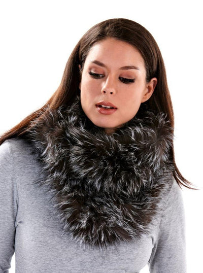 Lynn Natural Silver Fox Infinity Scarf - The Fur Store