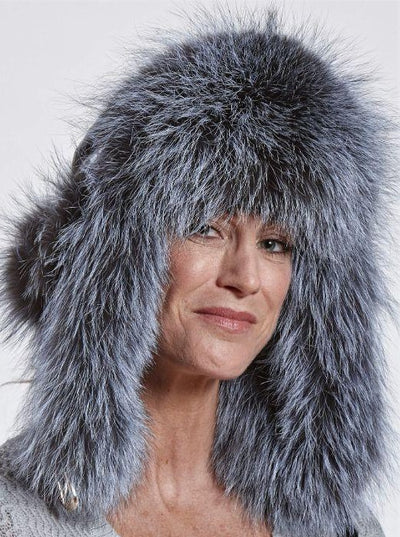 Faye Woman's Silver Fox Trapper Hat with Leather - The Fur Store