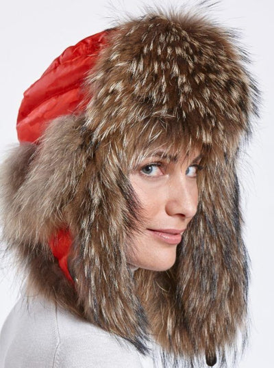 Faye Red Puffer Down Woman's Raccoon Trapper Hat - The Fur Store
