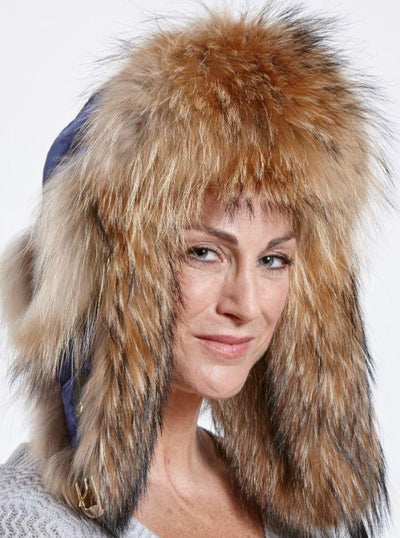 Faye Navy Puffer Down Woman's Raccoon Trapper Hat - The Fur Store