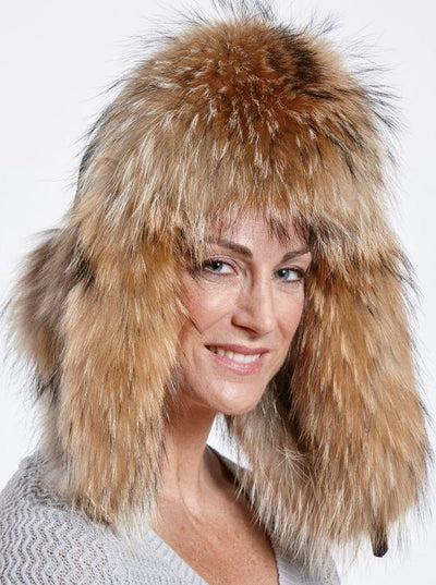 Faye Teal Puffer Down Woman's Raccoon Trapper Hat - The Fur Store