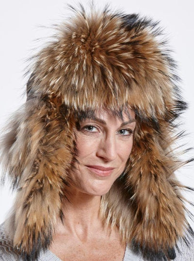 Faye Black Puffer Down Woman's Raccoon Trapper Hat - The Fur Store