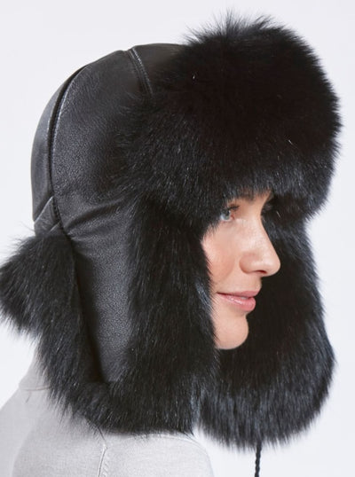 Susan Women's Black Fox with Leather Trapper Hat - The Fur Store