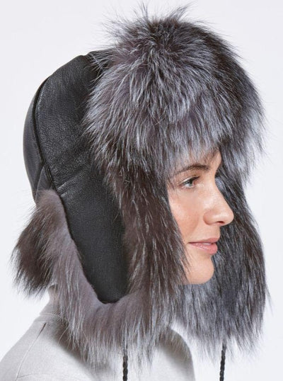 Wendy Women's Silver Fox with Leather Trapper Hat - The Fur Store