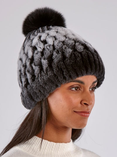 Eleanor Rex Rabbit Chinchilla Dyed Hat - The Fur Store