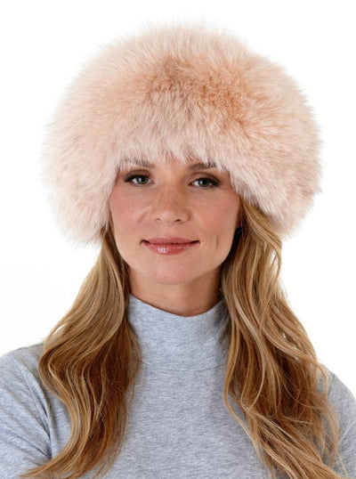 Siobhan Pink Fox with Leather Hat - The Fur Store