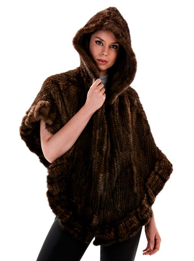 Dina Brown Knitted Mink Poncho with Hood - The Fur Store