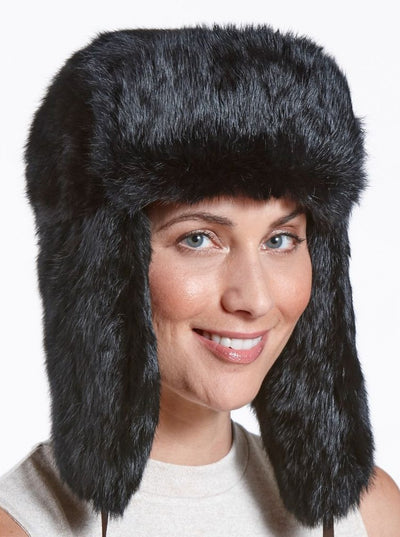 Jackson Women's Black Rabbit Trapper Hat - The Fur Store