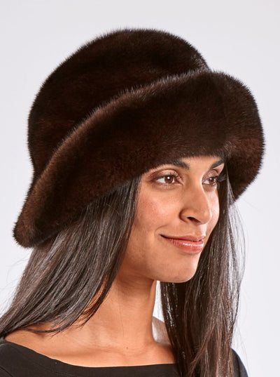 Lexie Mahogany Mink Floppy Hat - The Fur Store