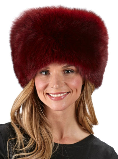 Veronica Women's Russian Burgundy Fox Hat - The Fur Store