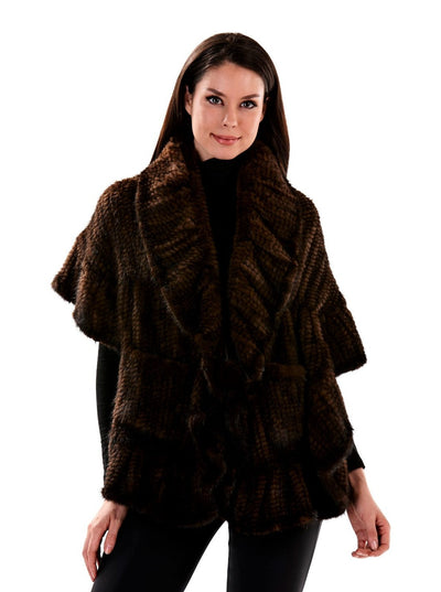 Mya Brown Knitted Mink Fur Cape - The Fur Store
