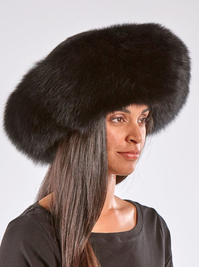Lucy Black Fox with Black Mink Trim Hat - The Fur Store