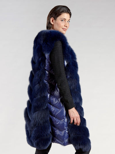 Victoria Navy Fox Vest - The Fur Store