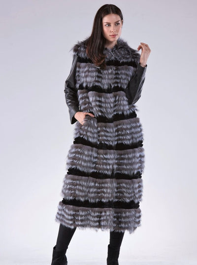 Delila Silver Fox Coat with Hood - The Fur Store