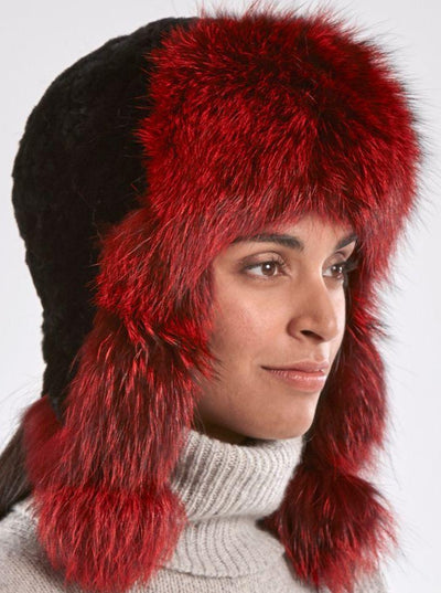 Kennedy Black Knitted Rex Rabbit Red Fox Trim Hat - The Fur Store