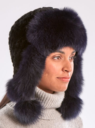 Kennedy Black Knitted Rex Rabbit Purple Fox Trim Hat - The Fur Store