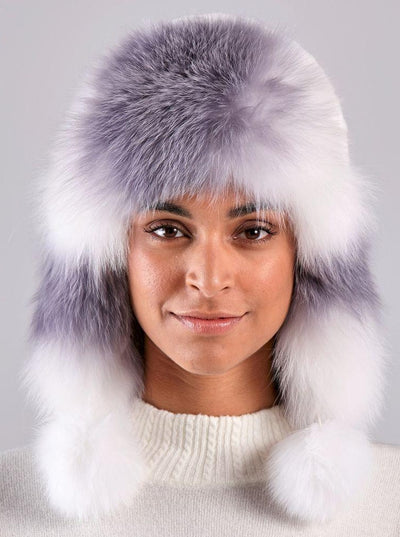Kennedy White Knitted Rex Rabbit White Fox Trim Hat - The Fur Store