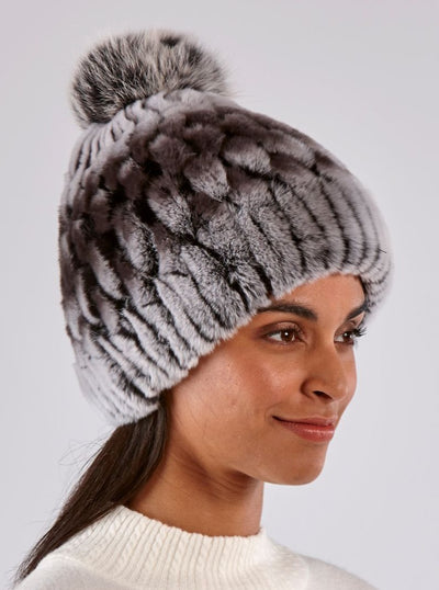 Tamsen Rex Rabbit Chinchilla Dyed Hat - The Fur Store