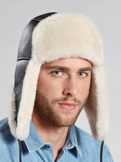 Taylor Men's Brown Shearling Aviator Hat - The Fur Store