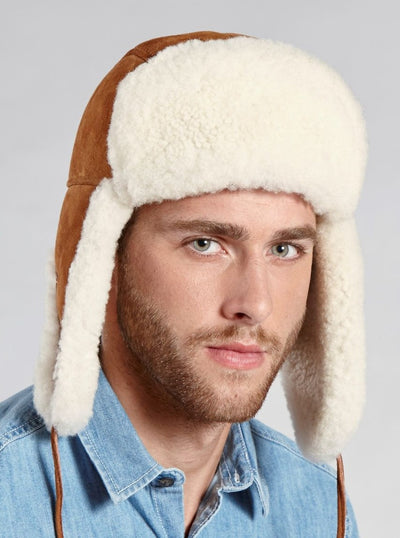 Taylor Men's Cognac Shearling Aviator Hat - The Fur Store