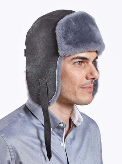 Casey Blue Grey Shearling Pilot Hat - The Fur Store