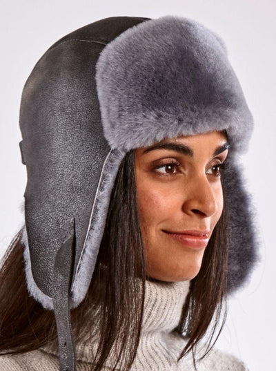 Casey Grey Shearling Aviator Hat - The Fur Store