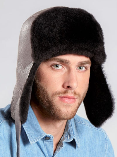 Casey Dark Brown Shearling Pilot Hat - The Fur Store