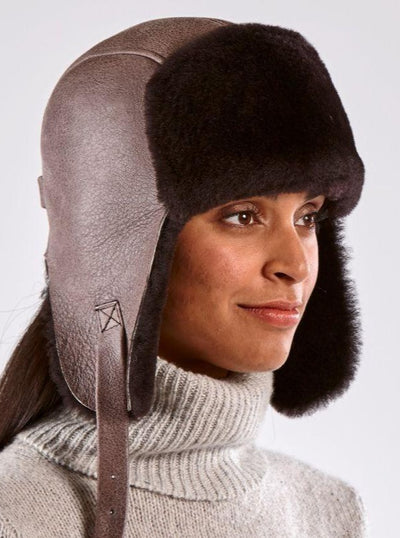 Casey Brown Shearling Aviator Hat - The Fur Store