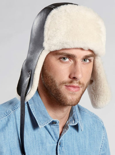 Casey Brown Shearling Pilot Hat - The Fur Store
