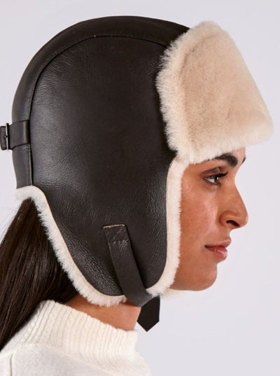 Casey Brown and White Shearling Aviator Hat - The Fur Store