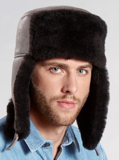 Jordan Chocolate Brown Russian Ushanka Shearling Hat - The Fur Store